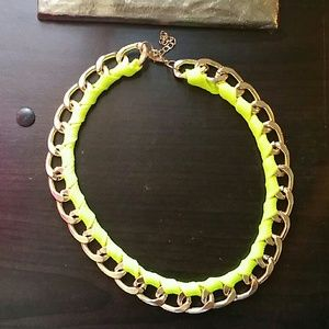Gold and neon colored thick gold choker.