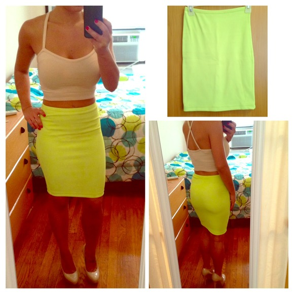 67% off American Apparel Dresses & Skirts - 🔹AA Lime green Pencil ...