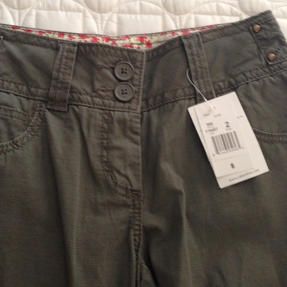 CAbi - NWT Cabi olive green cargo capri pants size 2 from Kari's ...