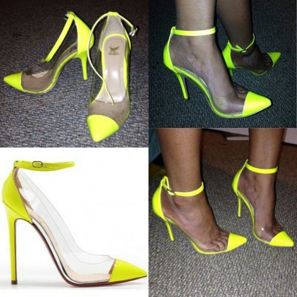 Neon Yellow Pointy Toe Heels