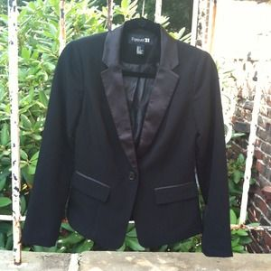 Black Blazer with Satin Trim