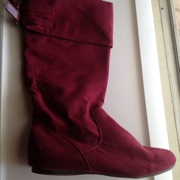 100% off Boots - Burgundy Suede Wide-Calf Boots from Michelle's ...