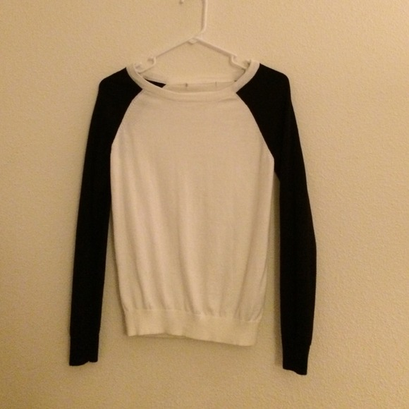 27% off Forever 21 Sweaters - A white sweater with black sleeves ...