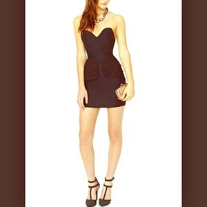Nasty gal black strapless and lace dress