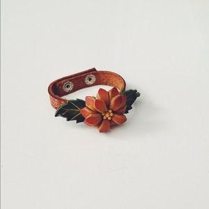 Jewelry - SALE!! - Flower Leather Wrap Bracelet