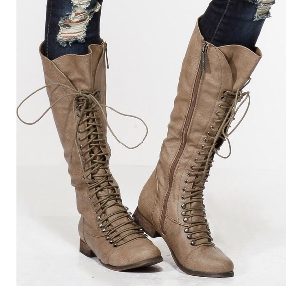 Soldtall Beige Lace Up Boots   Poshmark