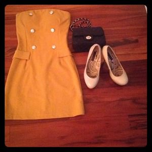Dresses & Skirts - dark yellow strapless dress with  buttons 😊