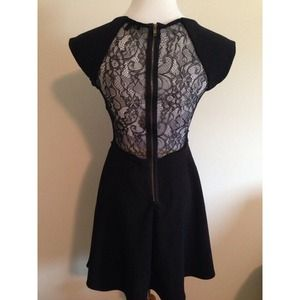 Black dress with lace cut outs