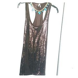 Tops - Brillant Brown sequined top