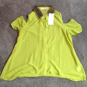 Lush Tops - *SOLD*Green off shoulder top with jeweled collar