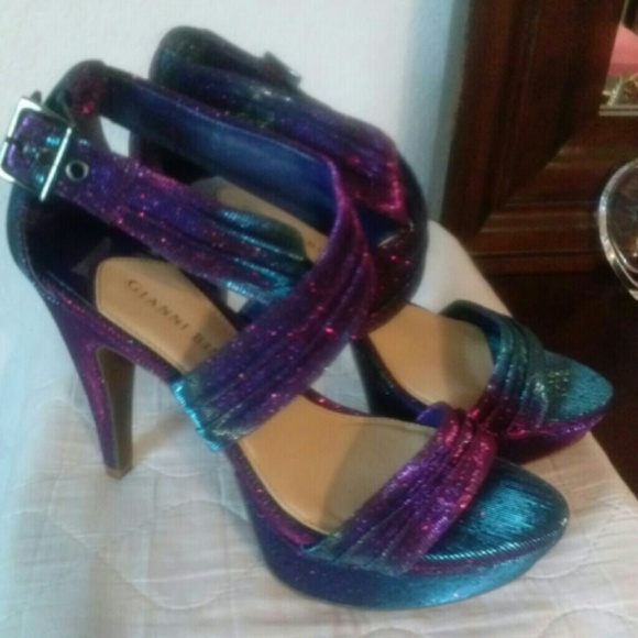 69% off Gianni Bini Shoes - Blue and purple strappy glitter heels