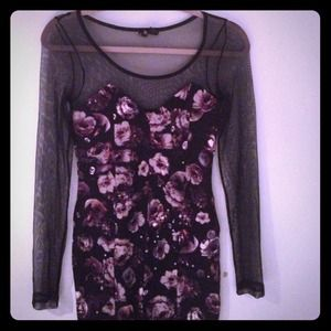 Floral and Mesh Bodycon Dress