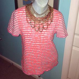 Gap Neon orange sweater shirt cheetah stripes