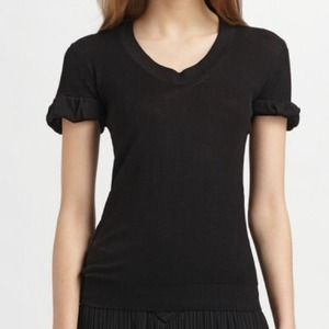 Burberry Prorsum Black Scoop neck Knit Top. L NWT