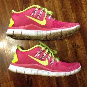nike free run neon pink yellow