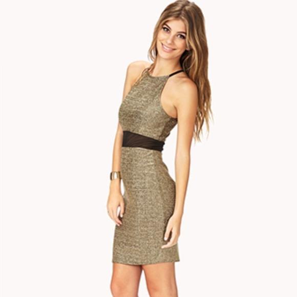Forever 21 Dresses Medium Goldblack Dress Poshmark