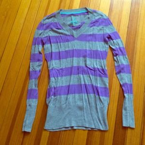 Purple and Gray Striped Sweater