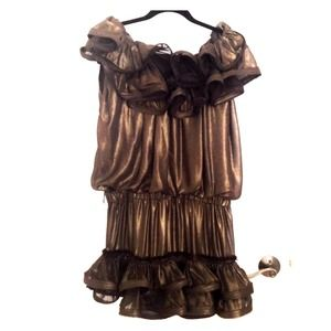 Lanvin for H&M Gold Bronze Ruffle Party Dress