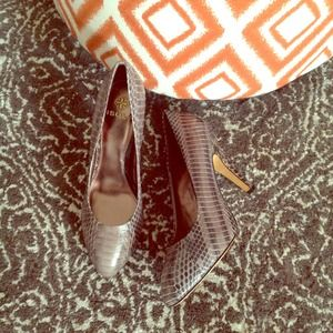 Isola Shoes - Isola Snakeskin-Embossed Heels
