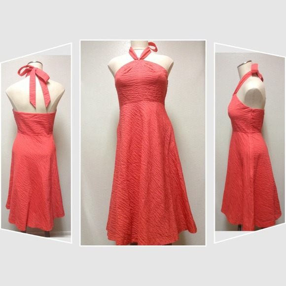 NEW pink embossed-cotton, halter dress -