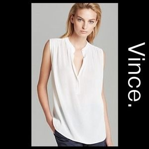 Vince Tops - VINCE White Crepe Sleeveless Blouse