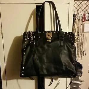 Handbags - Black crossbody bag with gold chains and lock