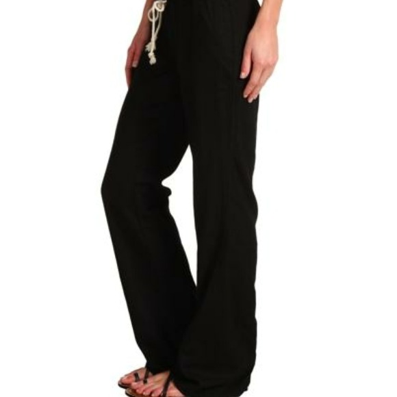 Drawstring Pants Linen Black Roxy Linen Drawstring Pants