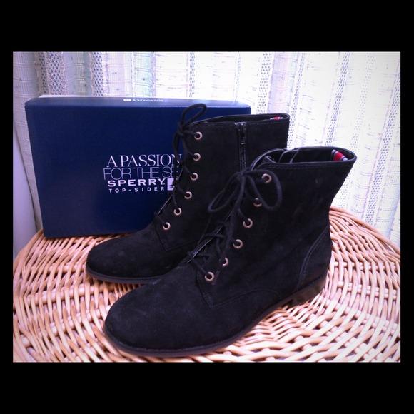 Black Suede Combat Boots Size