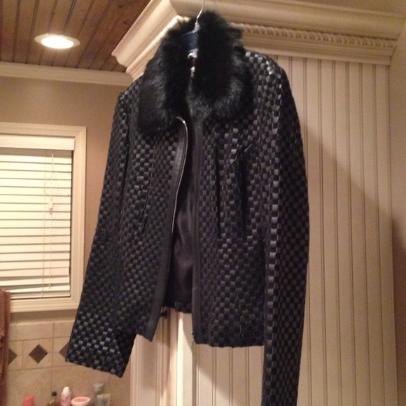 presenting professional sale cheaper Marvin Richards Jackets & Coats | Black Woven Leather Coat With ...