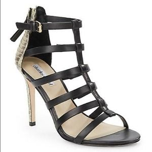 Charles David Snake Leather Strappy Sandals Black