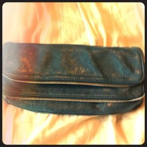 Blue leather double zipper clutch