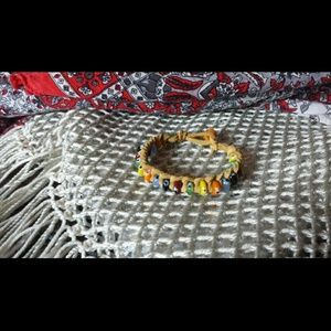 Jewelry - NWOT Boho chic suede and glass bracelet