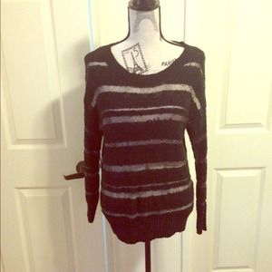 LC Lauren Conrad Sweaters - Black Shimmer Striped Sweater