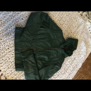 Faux leather green jacket