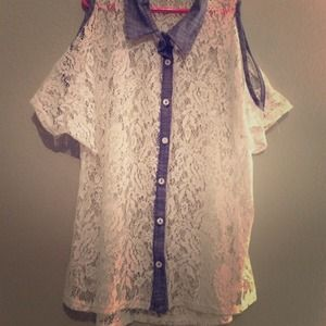 Lace collar shirt with sleeves