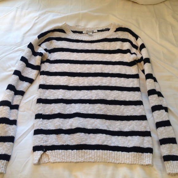 58% off Forever 21 Sweaters - Black and White Striped Knit Sweater ...