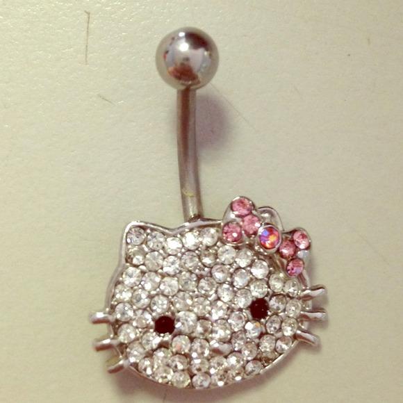 Swarovski Crystal Hello Kitty Belly Button Ring