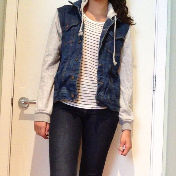 46% off Forever 21 Denim - Jean jacket with sweatshirt sleeves ...
