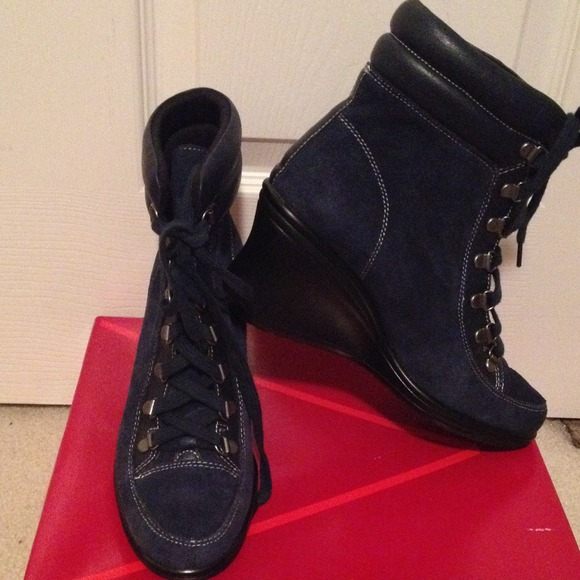 77 aerosoles boots blue suede boots from jackie s