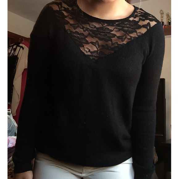 44% off Forever 21 Sweaters - Black Lace Cut-out Sweater from ...