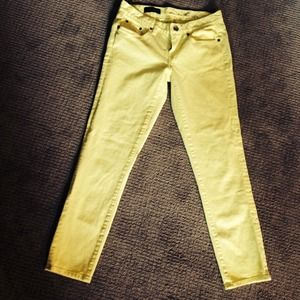 Yellow J Crew Toothpick Ankle Jeans