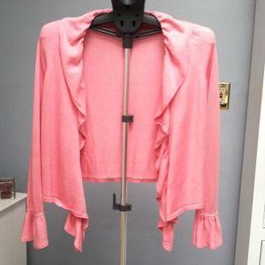 Pink wrap sweater.