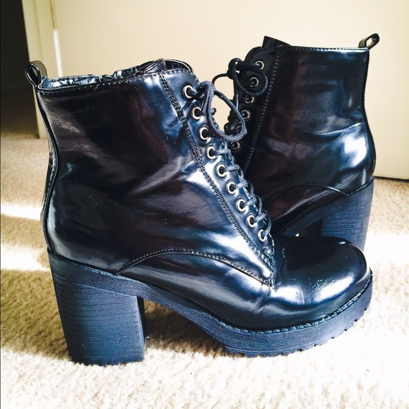 1a7606dfc6fa Black Patent Leather Combat Boot w  Heel. M 53e03020de4f2871bf22467c