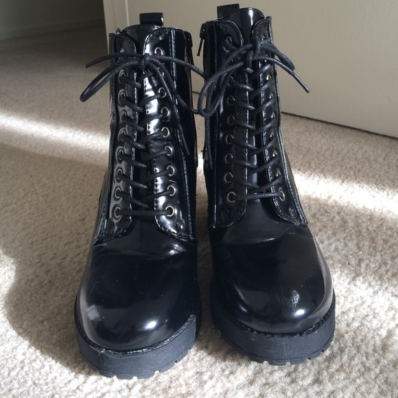 45% off pink & pepper Boots - Black Patent Leather Combat Boot w ...