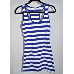 NEW White and blue stripped Bodycon dress LARGE