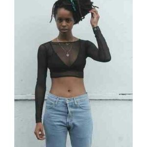 Tops - Black Mesh Crop Top