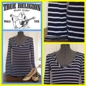 True Religion Tops - True Religion 💕Navy and White long sleeve top💕