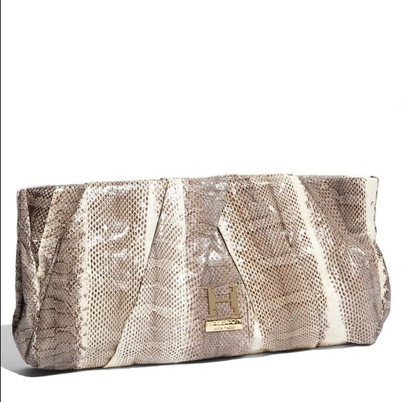 Halston Heritage - ALICE Pleated Snakeskin Clutch 743d7bc91e53f