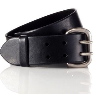 Yigal Azrouel Double Buckle Black Leather Belt M