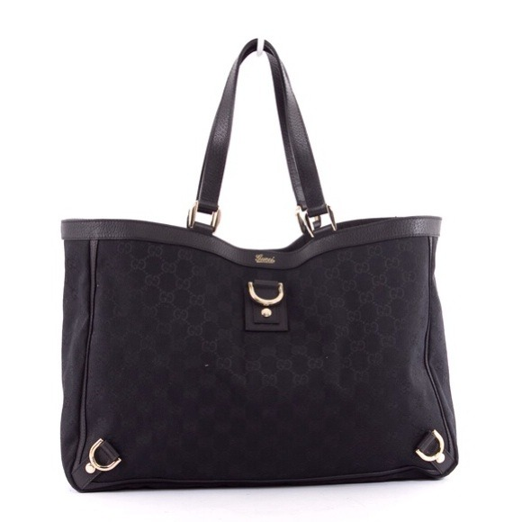 c1d50fd7f33ee2 Gucci Bags | Black Gg Monogram Canvas Large Abbey Tote | Poshmark